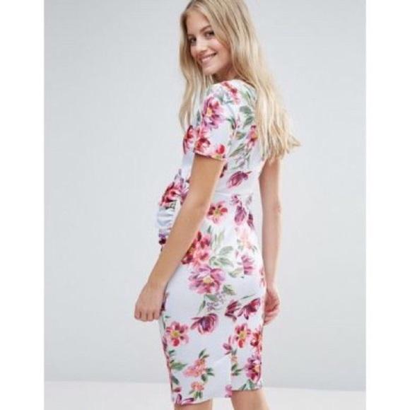 ASOS Maternity Gray Floral Crewneck Bodycon Dress